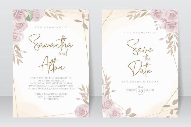 手描きの結婚式の招待カードのデザイン