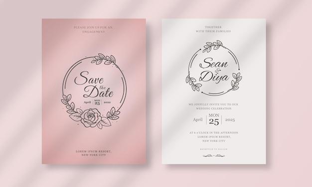 シンプルなライン アートの花のイラストが描かれた結婚式の招待カード テンプレートを手します。