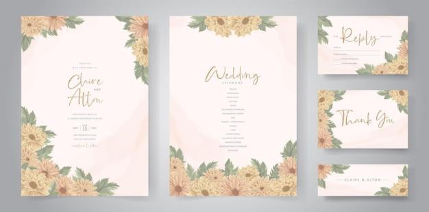 美しい菊の花を使った手描きの結婚式の招待状のデザイン