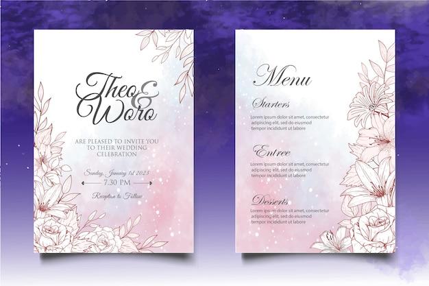手描きの結婚式の招待状の花と葉のカードテンプレート