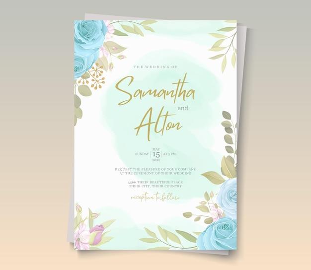 花をテーマにした手描きの結婚式の招待状のテンプレート