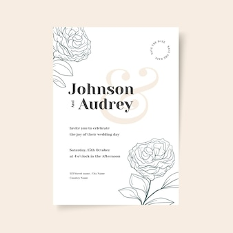 Ручной обращается шаблон свадебного приглашения