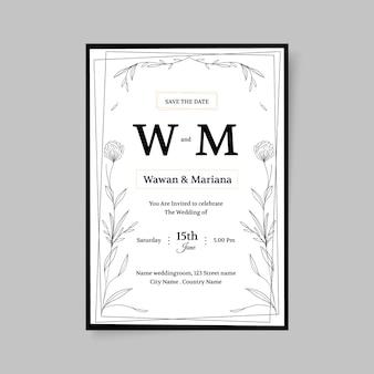 Modello di invito matrimonio disegnato a mano