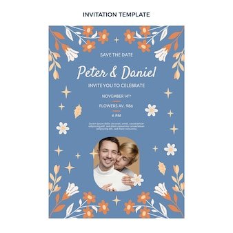Hand drawn wedding invitation template