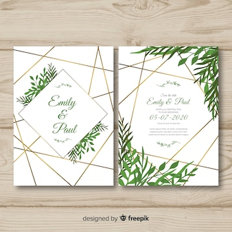 Hand drawn wedding invitation template
