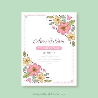Hand drawn wedding invitation with floral style