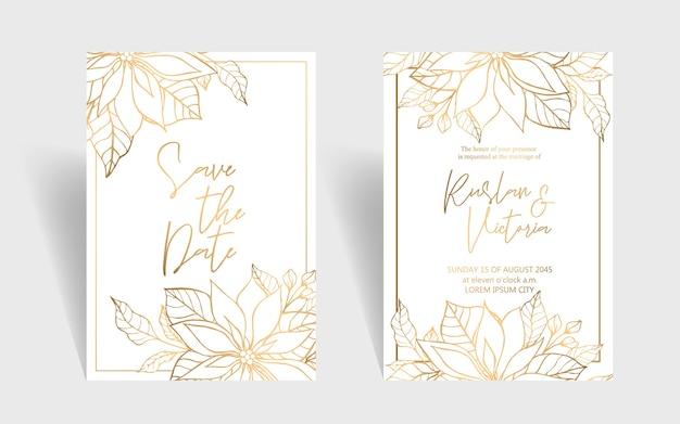 Hand drawn wedding invitation with golden bouquet of poansettia