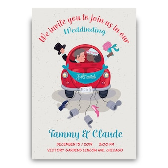Hand drawn wedding invitation with groom and bride in car