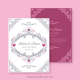 Hand drawn wedding invitation with ornaments