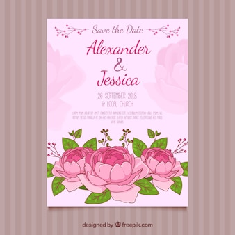 Hand drawn wedding invitation with peonies