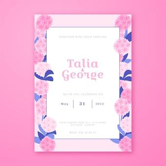 ピンクの花と手描きの結婚式の招待状