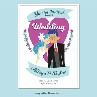 Hand drawn wedding invitation with smiley couple