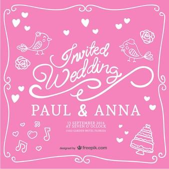 Hand-drawn wedding invitation
