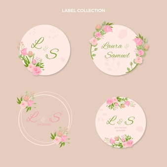 Коллекция рисованной свадебных этикеток