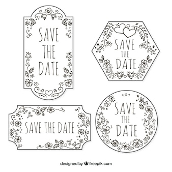 Hand drawn wedding labels with vintage style