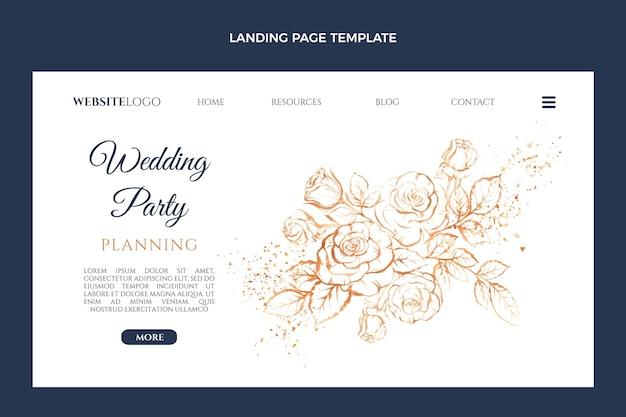 Modello di pagina di destinazione del matrimonio disegnato a mano