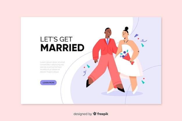 Hand drawn wedding landing page template
