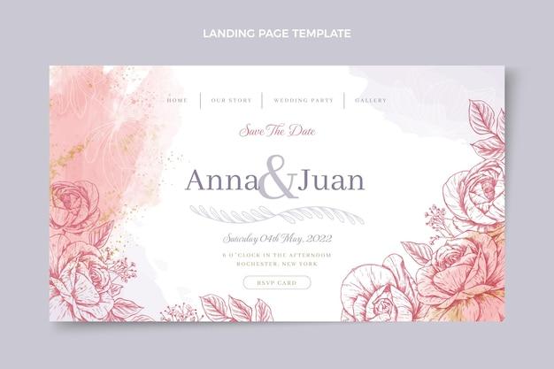 Нарисованная вручную свадебная целевая страница