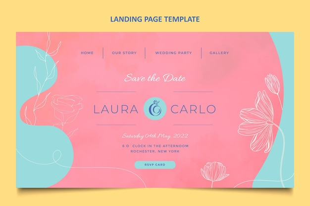 Pagina di destinazione del matrimonio disegnata a mano