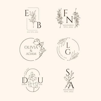 Hand drawn wedding linear flat wedding monograms collection