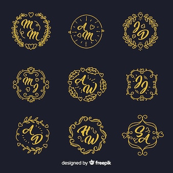 Hand drawn wedding logo collectio