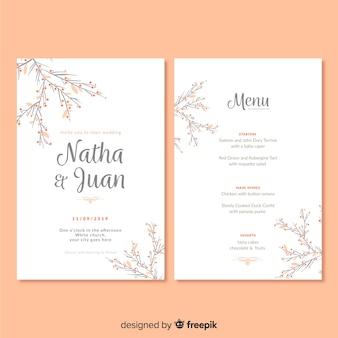 Hand drawn wedding menu template