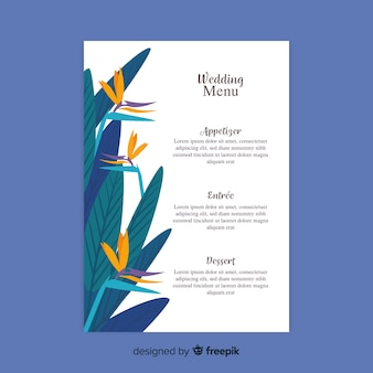 Hand drawn wedding menu template