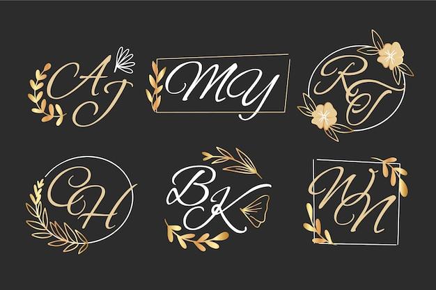手描きの結婚式のモノグラムのロゴのコレクション