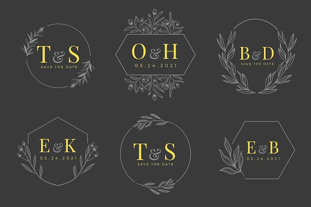 Hand drawn wedding monogram logo collection