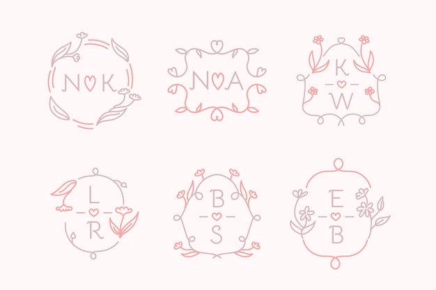 Hand drawn wedding monogram logo pack