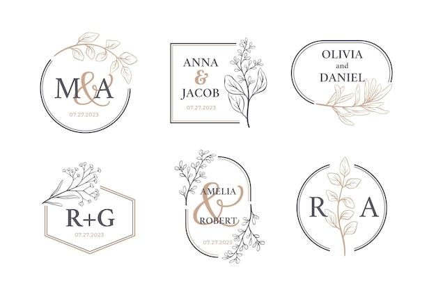 Hand drawn wedding monogram logo pack