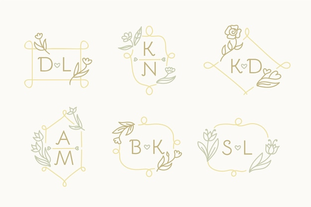Hand drawn wedding monogram logo set
