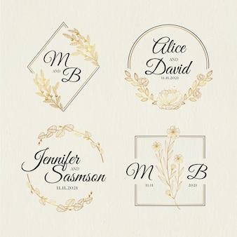 Hand drawn wedding monogram logo set