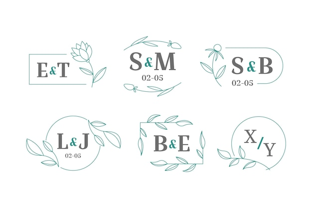 Hand drawn wedding monogram logos