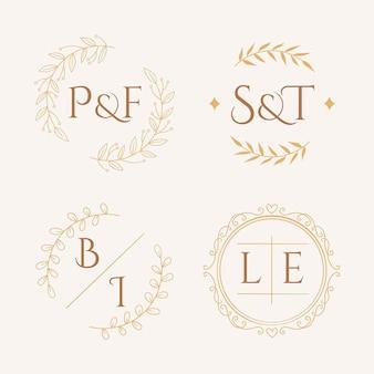 Loghi monogramma matrimonio disegnati a mano