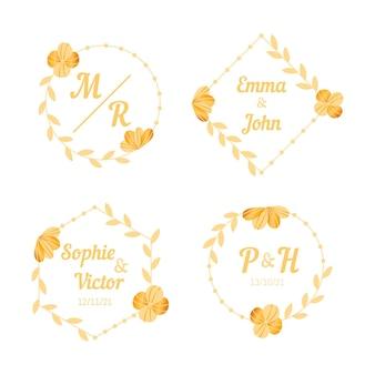 Hand drawn wedding monogram logos