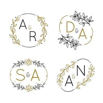 手描きの結婚式のモノグラムのロゴ