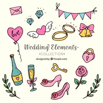 Hand drawn wedding objects