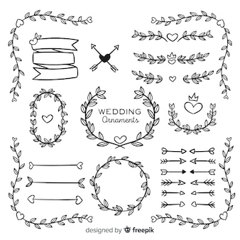 Hand drawn wedding ornament collection isolated