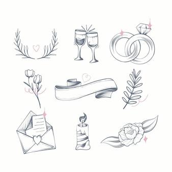 Pacchetto di ornamenti di nozze disegnati a mano