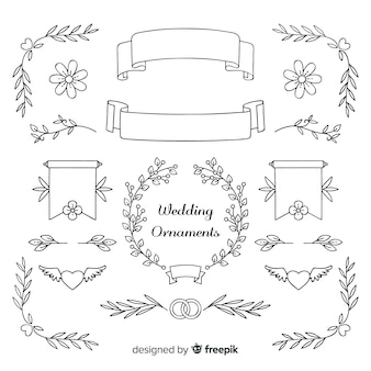 Hand drawn wedding ornaments collection