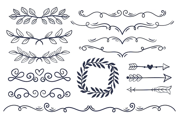 手描きの結婚式の装飾品コレクション