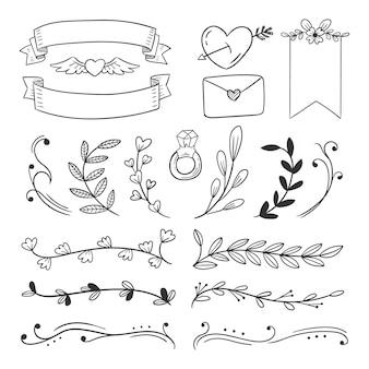 Коллекция рисованной свадебных украшений