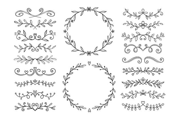 Collezione di ornamenti nuziali disegnati a mano