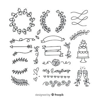Hand drawn wedding ornaments set
