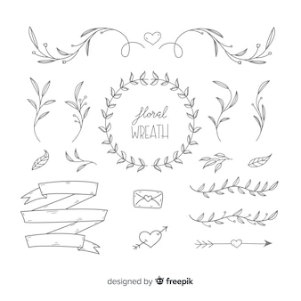 Hand drawn wedding ornaments set