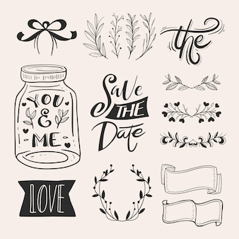 Set di ornamenti nuziali disegnati a mano