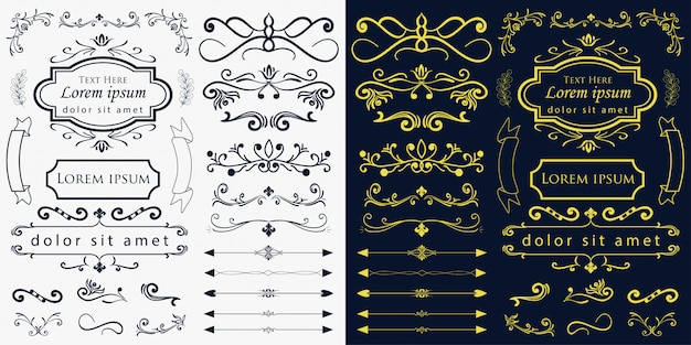 Hand drawn wedding ornaments vector