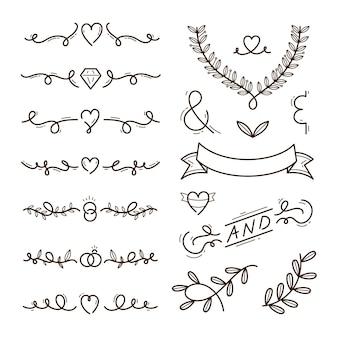 Hand drawn wedding ornaments