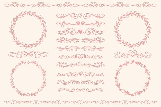 Ornamenti di nozze disegnati a mano